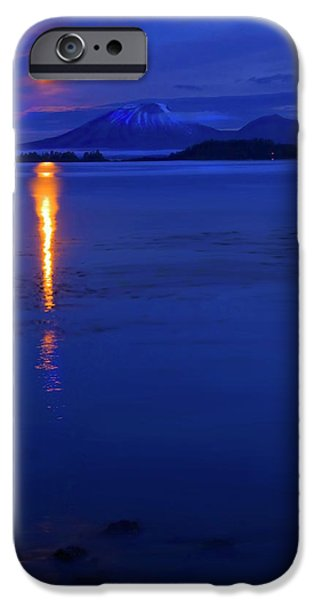 Mt iPhone Cases - Moon Rise over Mt. Edgecumbe iPhone Case by Mike  Dawson