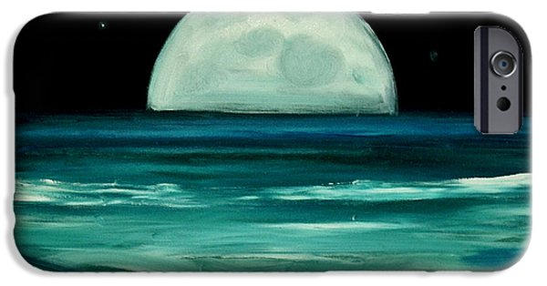 Sea Moon Full Moon Paintings iPhone Cases - Moon rising iPhone Case by Caroline Peacock