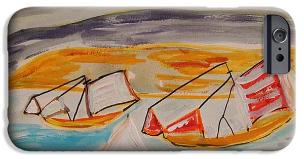 Sea Moon Full Moon Drawings iPhone Cases - Moon Shadow on Sailing Boats iPhone Case by Mary Carol Williams