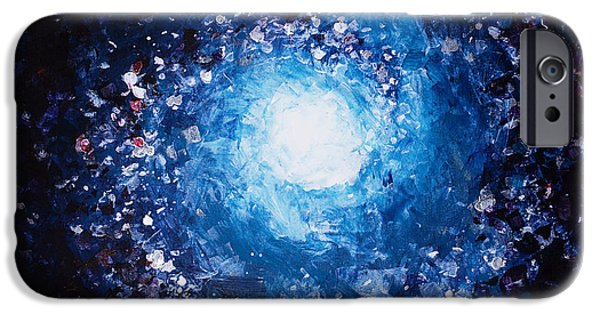 Cosmic Space Paintings iPhone Cases - Moon iPhone Case by Tara Thelen - Printscapes