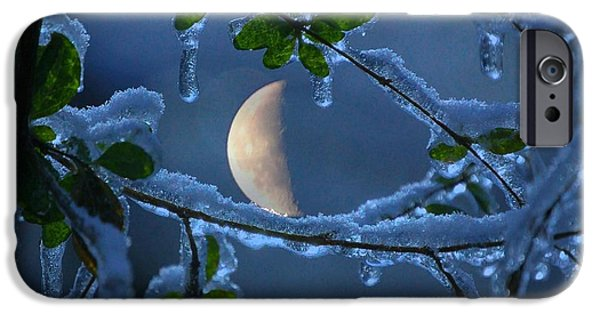 Winter Storm iPhone Cases - Moon Through Icy Branches iPhone Case by Molly Dean
