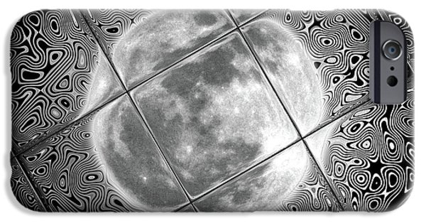 Solar Eclipse Digital iPhone Cases - Moon Tile Reflection iPhone Case by Stephen Younts