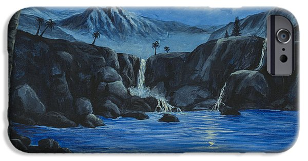 Moonscape iPhone Cases - Moonlight and Waterfalls iPhone Case by Darice Machel McGuire