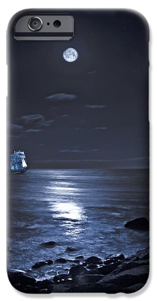 Tall Ship Digital Art iPhone Cases - Moonlight Bay iPhone Case by Chris Lord
