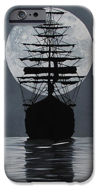 Sea Moon Full Moon Paintings iPhone Cases - Moonlight Desires iPhone Case by Alex Banman