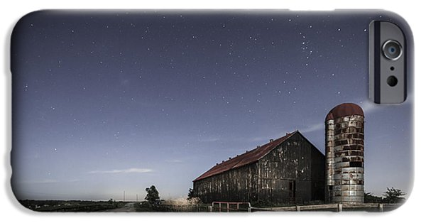 Rural iPhone Cases - Moonlight farm iPhone Case by Alexey Stiop