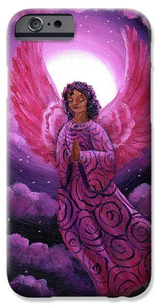 Night Angel Paintings iPhone Cases - Moonlight Hope iPhone Case by Laura Iverson