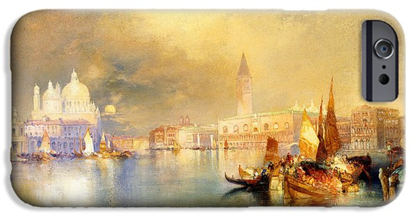 Buildings iPhone Cases - Moonlight in Venice iPhone Case by Thomas Moran