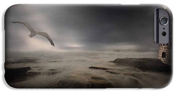 Flying Seagull iPhone Cases - Moonlight Lighthouse iPhone Case by Lourry Legarde