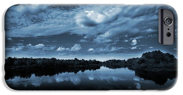 Nature iPhone Cases - Moonlight over a lake iPhone Case by Jaroslaw Grudzinski