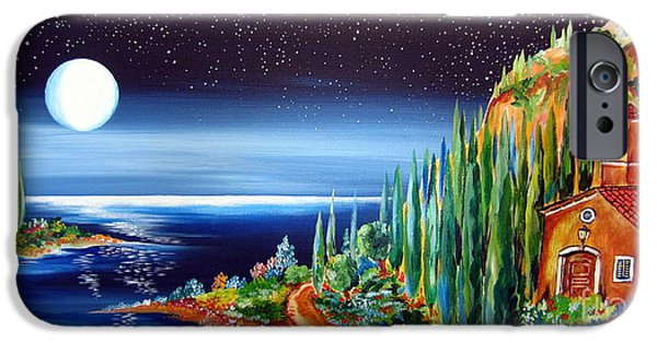 Roberto Paintings iPhone Cases - Moonlight over my Tuscan Villa iPhone Case by Roberto Gagliardi