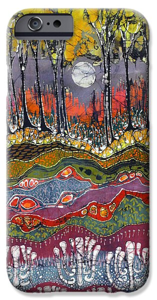 Spring Tapestries - Textiles iPhone Cases - Moonlight Over Spring iPhone Case by Carol  Law Conklin