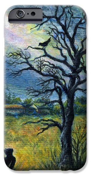 Virtual Paintings iPhone Cases - Moonlight Prowl iPhone Case by Retta Stephenson