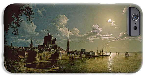 Sailboats iPhone Cases - Moonlight Scene iPhone Case by Sebastian Pether