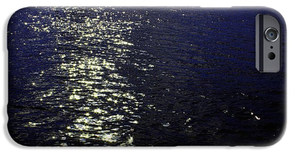 Sea Mixed Media iPhone Cases - Moonlight Sparkles on the Sea iPhone Case by Linda Woods