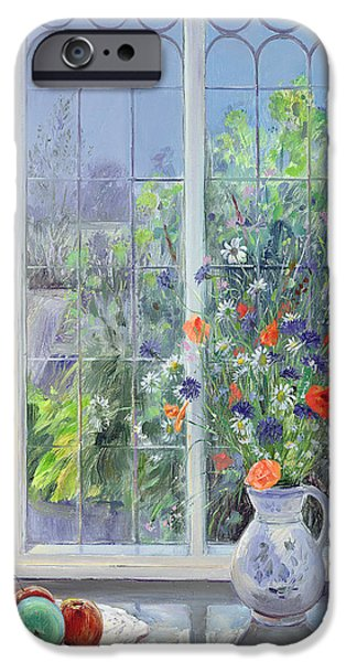 Moonlit iPhone Cases - Moonlit Flowers iPhone Case by Timothy Easton