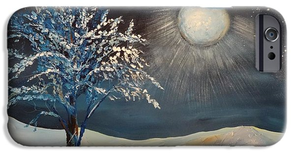 Snowy Night Mixed Media iPhone Cases - Moonlit Night iPhone Case by Kat McClure