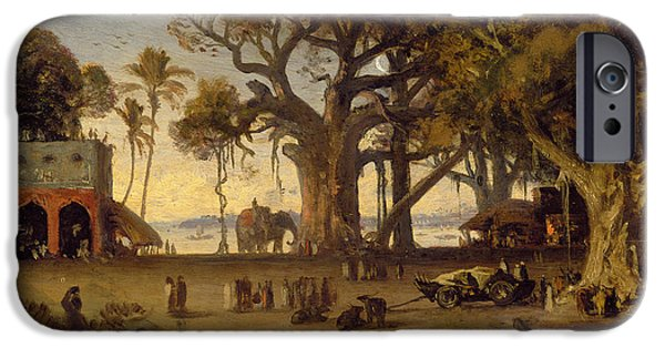 Elephants iPhone Cases - Moonlit Scene of Indian Figures and Elephants among Banyan Trees iPhone Case by Johann Zoffany