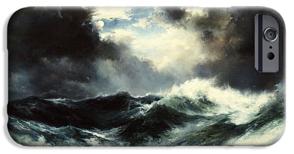 Moon iPhone Cases - Moonlit Shipwreck at Sea iPhone Case by Thomas Moran