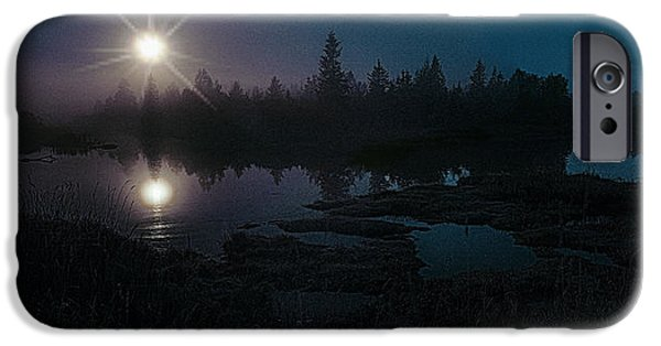 Moonscape iPhone Cases - Moonlit Wetland iPhone Case by Marty Saccone