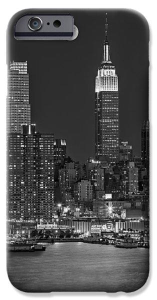 Empire State Building iPhone Cases - Moonrise along the Empire State Building BW  iPhone Case by Susan Candelario