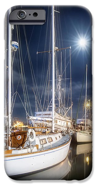 Boat iPhone Cases - Moonrise Harbor iPhone Case by Ken Smith