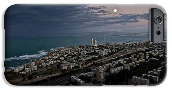 Winter Storm iPhone Cases - Moonrise Over Haifa Bay iPhone Case by Nadya Ost