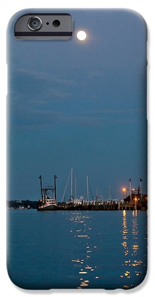 Sea Moon Full Moon Photographs iPhone Cases - Moonrise Over Montauk iPhone Case by Art Block Collections