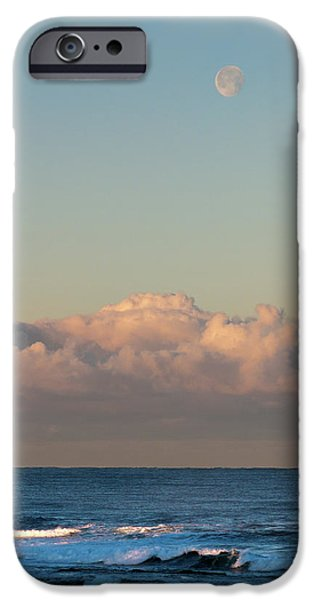 Sea Moon Full Moon iPhone Cases - Moonset over the Pacific iPhone Case by Alan Toepfer