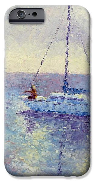 Sailboat Ocean iPhone Cases - Mooring the Sailboat iPhone Case by Terry  Chacon
