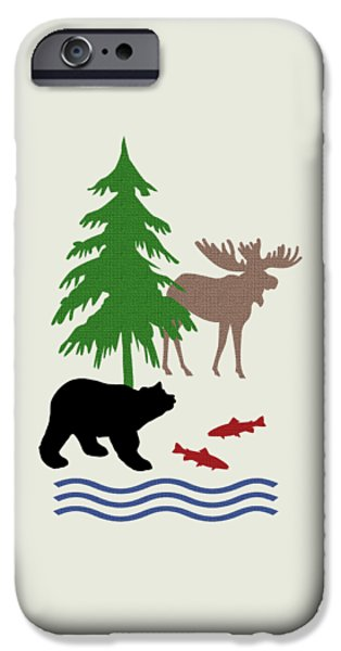 Cabin iPhone Cases - Moose and Bear Pattern Art iPhone Case by Christina Rollo