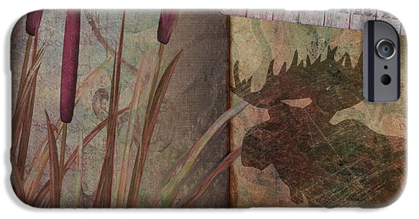 Cattails iPhone Cases - Moose Trail iPhone Case by Mindy Sommers