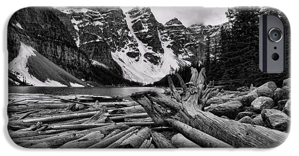 Snow iPhone Cases - Moraine Lake Driftwood No 2 iPhone Case by Stephen Stookey