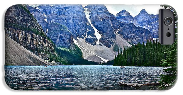 Snow iPhone Cases - Moraine Lake in Color iPhone Case by Linda Bianic