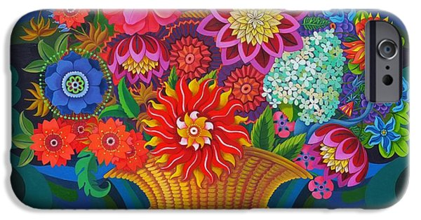 In Bloom Paintings iPhone Cases - More blooms in a basket iPhone Case by Jane Tattersfield