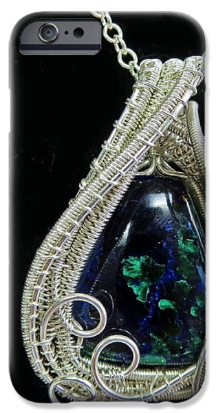 Jordan Jewelry iPhone Cases - Morenci Azurite Malachite and Sterling Silver Wire Wrapped Pendant with Ethiopian Opals MMASSP2 iPhone Case by Heather Jordan