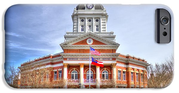 Wintertime iPhone Cases - Morgan County Court House Flags Waving iPhone Case by Reid Callaway