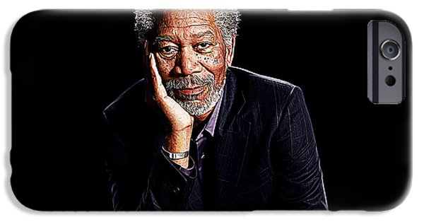Robert De Niro Digital iPhone Cases - Morgan Freeman iPhone Case by Queso Espinosa