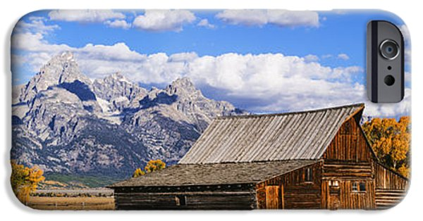 Old Barn iPhone Cases - Mormon Row Barn Panorama iPhone Case by Vishwanath Bhat