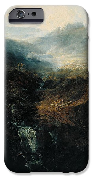 Nature Study Paintings iPhone Cases - Morning Amongst The Coniston Fells iPhone Case by William Turner