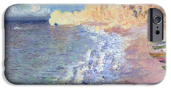 Morning Paintings iPhone Cases - Morning at Etretat iPhone Case by Claude Monet