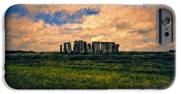 United iPhone Cases - Morning at Stonehenge iPhone Case by John K Woodruff
