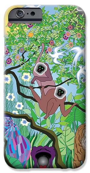 Hippopotamus Digital Art iPhone Cases - Morning at the Jungle iPhone Case by Lydia Davis
