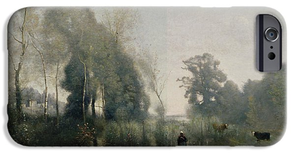 1796 iPhone Cases - Morning at Ville dAvray iPhone Case by Jean Baptiste Camille Corot