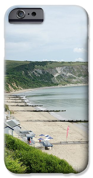 MORNING BAY Pt looking up Swanage Bay on a summer morning beach scene iPhone Case by Andy Smy