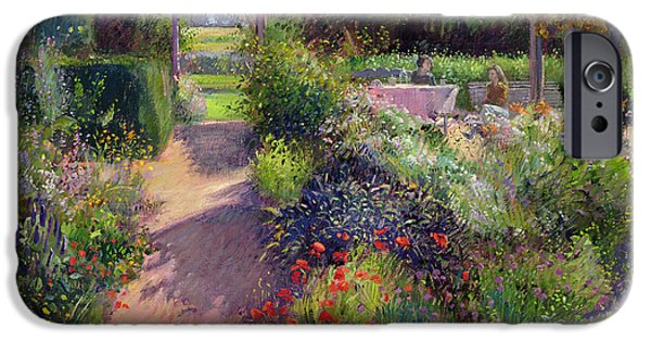 Garden iPhone Cases - Morning Break in the Garden iPhone Case by Timothy Easton