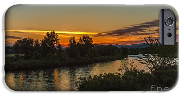 Flooding iPhone Cases - Morning Color Over The Payette River iPhone Case by Robert Bales