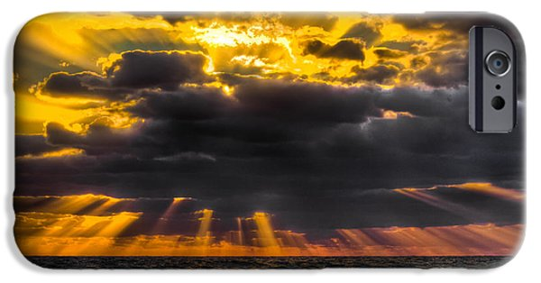 Ocean Sunset iPhone Cases - Morning Drama iPhone Case by Debra and Dave Vanderlaan