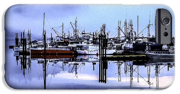 Port Hardy iPhone Cases - Morning Fog In The Harbor 2 iPhone Case by Larry Kohlruss