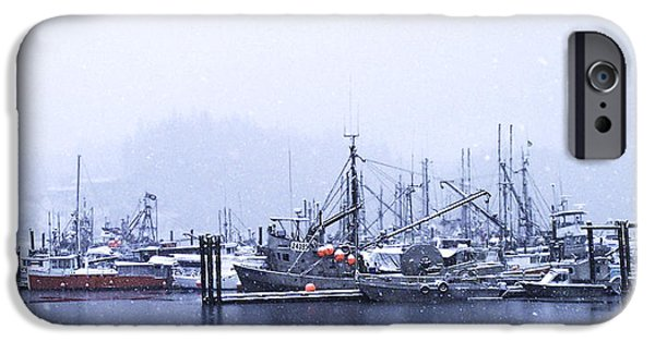 Port Hardy iPhone Cases - Morning Fog In The Harbor 4 iPhone Case by Larry Kohlruss